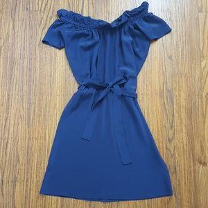 100% Silk Off Shoulder Dress Sz S Navy Blue